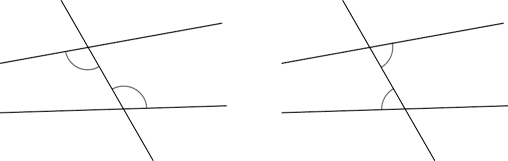 2 sets of non-parallel lines & transversal. Alternate unequal angles are marked in each diagram.