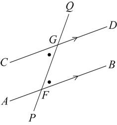 A transversal intersects two parallel lines. A pair of alternate equal angles is marked.