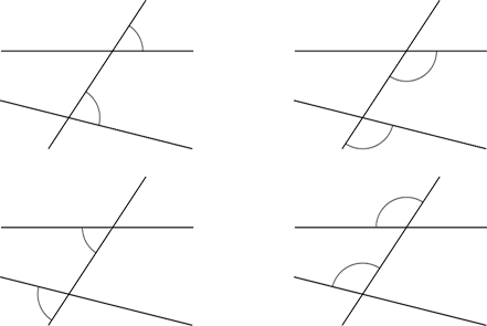 4 sets of non-parallel lines transversed. Unequal corresponding angles are marked on each image.