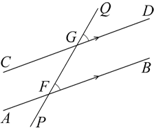 A transversal intersects two parallel lines. A pair of corresponding angles is marked at QGD & GFB.
